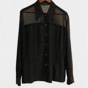 Sheer Black Long Sleeve Blouse Size L-XL